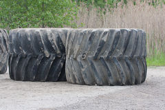 Giant Machinery Rubber Tires Royalty Free Stock Images