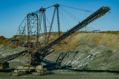 Giant machines in quarry - spreader. Stock Photography