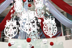 Giant mall paper cut white and red decoration Royalty Free Stock Image