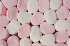 Giant Marshmallows As On Chess-board Background Stock Photos