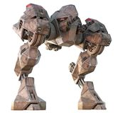 Giant Mecha Walker 3D Render. 3D render of a fearsome giant mecha walker. Armed, dangerous, and ready to strike royalty free illustration