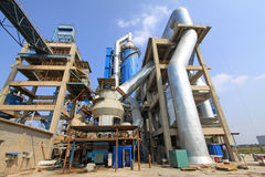 Giant mechanical facilities in a cement factory Royalty Free Stock Image