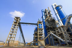 Giant mechanical facilities in a cement factory Stock Image