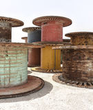 Giant Metal and Wooden Reels Spools Royalty Free Stock Image