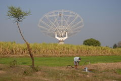 Giant Meter-wave Radio Telescope, GMRT, India. Stock Photo