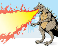 Giant monster. Spewing flames in a city Stock Photos