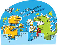 Giant Monster Pie Fight. A giant robot and giant monster engage in an epic pie fight in a city Royalty Free Stock Image