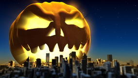 Giant monster pumpkin attacked a city. Fantasy Halloween 3d illustration Stock Image