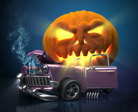 Giant monster pumpkin crushed a car. Halloween 3d illustration. Giant monster pumpkin crushed a car. Fantasy Halloween 3d illustration Stock Photos