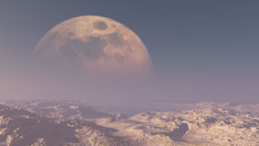 Giant Moon Over Desert Royalty Free Stock Photos