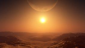 Giant Moon Over Desert Sunset. Giant moon on the horizon of a vast desert environment in a setting sun Stock Photo