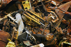 Giant Mountain of Heavy Scrap Metal Stock Photo