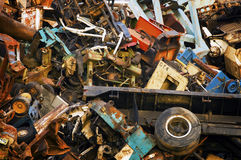 Giant Mountain of Heavy Scrap Metal Stock Images