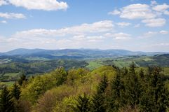 Giant mountains from,Jestrebi mountains, Czech republic. Giant mountains from lookout tower on the Markousovicky ridge,Jestrebi mountains, Eastern Bohemia, Czech Stock Photo