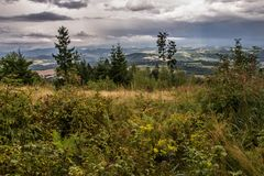 Giant Mountains panorama from the hill Kozakov Stock Images