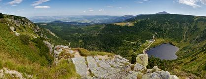 Giant mountains panorama with lake Royalty Free Stock Image
