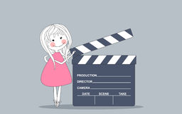 Giant movie clapboard. Vector illustration of a girl with giant movie clapboard Stock Photo