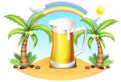 A giant mug of beer near the coconut trees Royalty Free Stock Photo