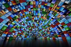 Giant multimedia wall. Giant multimedia video and image wall royalty free stock photography