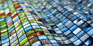 Giant multimedia wall Stock Photo