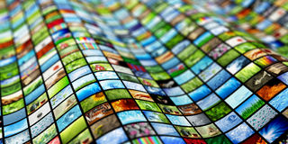 Giant multimedia wall. Giant multimedia video and image wall stock image