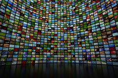 Giant multimedia wall. Giant multimedia video and image wall Stock Images