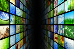 Giant multimedia walls. Giant multimedia video and image walls Royalty Free Stock Photo