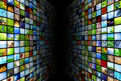 Giant multimedia walls. Giant multimedia video and image walls Royalty Free Stock Images