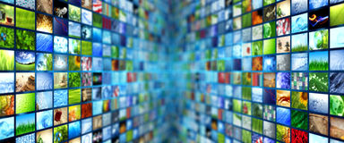 Giant multimedia walls. Giant multimedia video and image walls Royalty Free Stock Photos