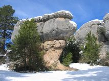 Giant mushroom rock in Cuenca, Spain on a snowy day Royalty Free Stock Photo