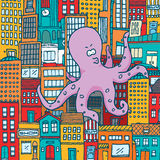 Giant octopus attack and take over a colorful city royalty free illustration