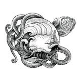Giant octopus attacking ship and big ocean wave hand drawing vintage engraving illustration for tattoo stock illustration