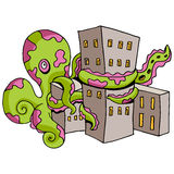 Giant Octopus Attacks City Royalty Free Stock Photo
