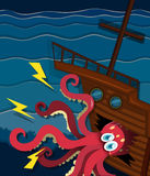 Giant octopus crashing a ship Stock Images