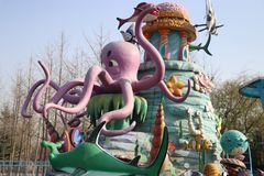 Giant octopus Deserted amusement park Stock Photo