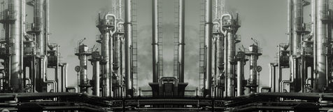 Giant oil and gas refinery panoramic Royalty Free Stock Image