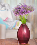 Giant Onion (Allium Giganteum) flowers in the flower vase on tab Stock Image