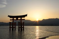 The giant orange Itsukushima Shrine royalty free stock image
