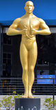 Giant oscar statue. MYRTLE BEACH SOUTH CAROLINA JUNE 29 2016: Giant oscar statue in front the Hollywood Wax Museum Entertainment Center stock photos