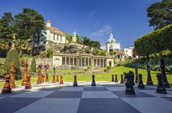 Giant Outdoor Chessboard in Portmeirion, UK stock photography