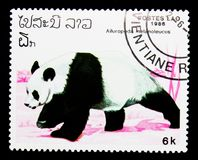 Giant Panda (Ailuropoda melanoleuca), serie, circa 1986. MOSCOW, RUSSIA - NOVEMBER 26, 2017: A stamp printed in Lao People's Democratic Republic Stock Photography