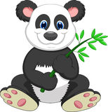 Giant Panda cartoon eating bamboo Stock Images