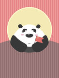 Giant Panda with Chinese flag in his hands. The friendly character of the country Stock Images