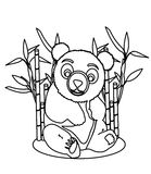 Giant panda coloring page. Hand drawn cute giant panda coloring page for kids Royalty Free Stock Photos