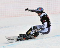 Giant Parallel Finals: Walder. NENDAZ, SWITZERLAND - JANUARY 17: finalist Ingemar Walder of Austria competes in the FIS World Championship Snowboard Giant Royalty Free Stock Image