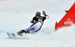 Giant Parallel Finals: Walder. NENDAZ, SWITZERLAND - JANUARY 17: finalist Ingemar Walder of Austria competes in the FIS World Championship Snowboard Giant Stock Photo