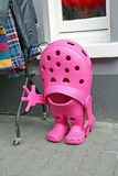 Giant pink croc shoe Royalty Free Stock Images