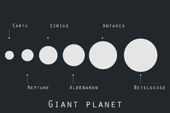 Giant planet  in original style. Planets and stars of the universe. Major planets. Stock Photography