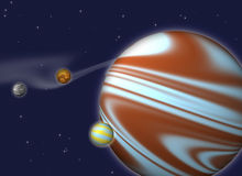 Giant planet with satellites. Against the star clouds and stars Stock Image