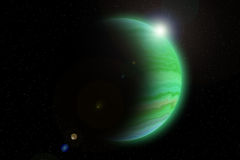 Giant Planets. Green Giant Planets and dark space Stock Illustration